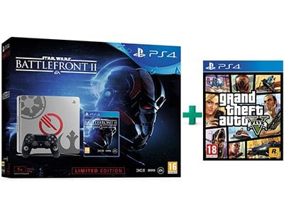 Sony PS4 1TB Slim 1TB Limited Edition & Star Wars Battlefront II Deluxe Edition & Grand Theft Auto V
