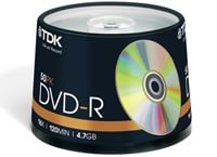 TDK DVD-R 16x 4,7GB - Spindle 50 τεμ - Μέσο αποθήκευσης