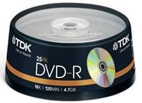 TDK DVD-R 16x 4,7GB - Spindle 25 τεμ - Μέσο αποθήκευσης