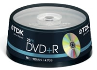 TDK DVD+R 16x 4,7GB - Spindle 25 τεμ - Μέσο αποθήκευσης