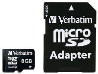 Κάρτα μνήμης microSDHC 8GB Class 10 & SD Adapter - Verbatim 44081