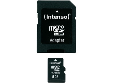 Κάρτα μνήμης microSDHC 8GB Class 10 & SD Adapter - Intenso 3413460