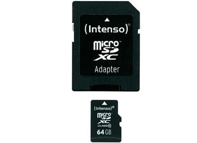Κάρτα μνήμης microSDXC 64GB Class 10 & SD Adapter - Intenso 3413490