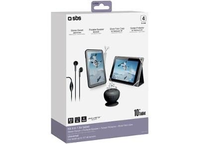 "SBS 4 in 1 Tablet Kit - Θήκη Tablet 10"" Μαύρο + Φορητό Ηχείο Bluetooth + Μεμβράνη + Ακουστικά"