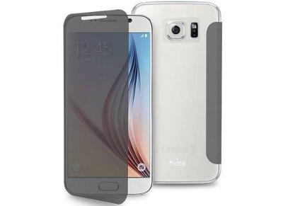 Θήκη Samsung Galaxy S6 - Puro Cover Sense Transparent Διαφανές Μαύρο SGS6SENSETR