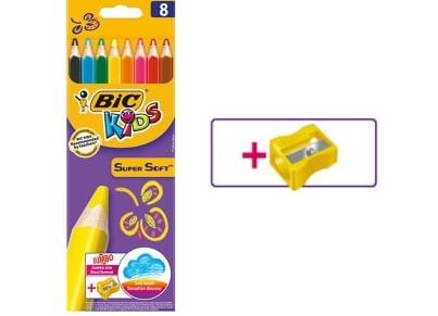 Ξυλομπογιές BIC Kids Super Soft Jumbo + Ξύστρα