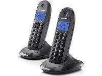 Motorola C1002LB Ασύρματο Τηλέφωνο Μαύρο (Σετ των 2)