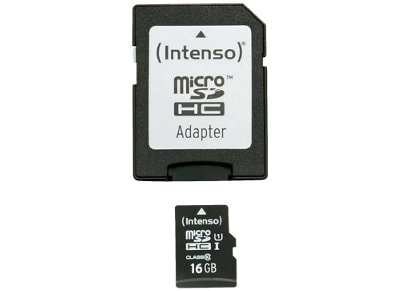 Κάρτα μνήμης microSDHC 16GB Class 10 & SD Adapter - Intenso 3423480