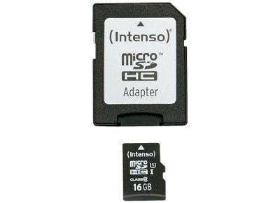 Κάρτα μνήμης microSDHC 16GB Class 10 & SD Adapter - Intenso 3423480