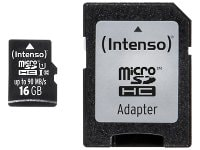 Κάρτα μνήμης microSDHC 16GB Class 10 & SD Adapter - Intenso 3433470