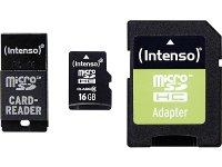 Κάρτα μνήμης microSDHC 16GB Class 10 - SD & USB Adapter - Intenso 3413770