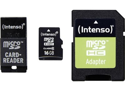 Κάρτα μνήμης microSDHC 16GB Class 10 - SD & USB Adapter - Intenso 3413770