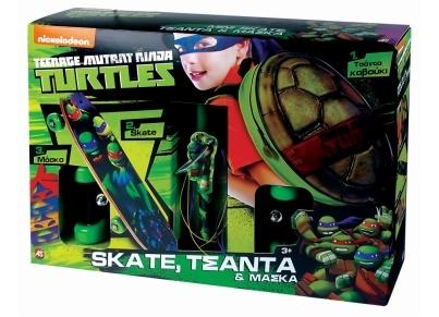 Σετ Turtles Mini Skate, Τσάντα Καβούκι & Μάσκα (AS 1500-15584)