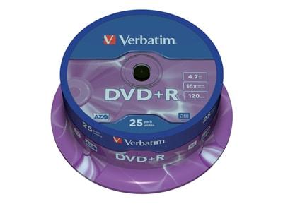 Verbatim DataLifePlus DVD+R 16x - 4,7GB - Spindle 25 τεμ - Μέσο αποθήκευσης