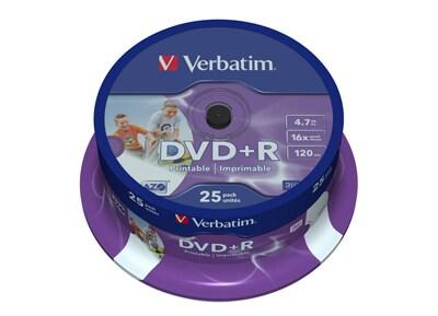 Verbatim DVD+R Printable 16x 4,7GB - Spindle 25 τεμ - Μέσο αποθήκευσης