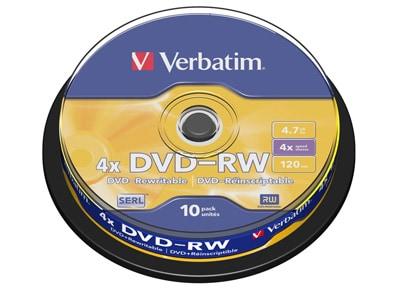 Verbatim DataLifePlus DVD-RW 4x 4,7GB - Cake 10 τεμ - Μέσο αποθήκευσης