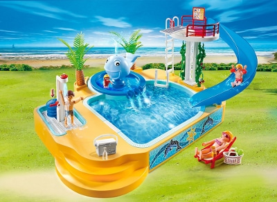 Playmobil 5433 public for Playmobil piscina con tobogan