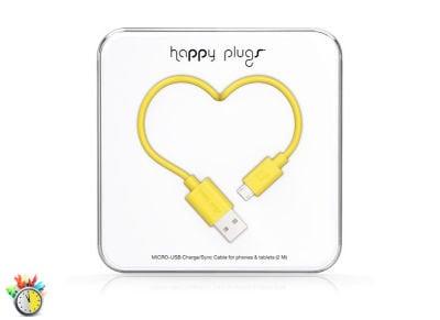 Καλώδιο USB to Micro USB 2m - Happy Plugs Charge Sync Cable 9923 Κίτρινο tablets   αξεσουάρ   φορτιστές   καλώδια