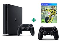 Sony PlayStation 4 - 1TB Slim D Chassis & FIFA 17 & 2ο Χειριστήριο (μαύρο)