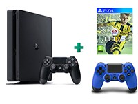 Sony PlayStation 4 - 1TB Slim D Chassis & FIFA 17 & 2ο Χειριστήριο (μπλε)