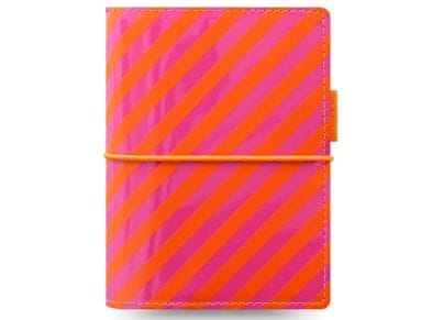 Οrganiser Σημειωματάριο Filofax Pocket Domino Patent Orange/Pink Stripes