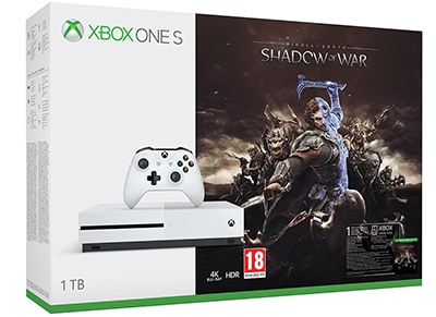 Microsoft Xbox One S White - 1TB & Middle-Earth: Shadow of W...