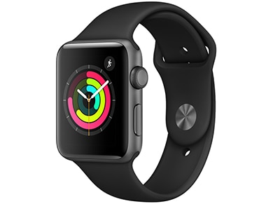 Apple Watch Series 3 42mm Aluminium Space Gray Sport Band Μαύρο