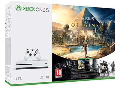 Microsoft Xbox One S White - 1TB & Assassin's Creed Origins & Rainbow Six Siege