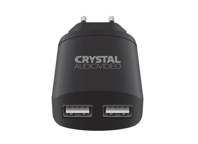 Φορτιστής Πρίζας Dual Universal USB 2.4Amp - Crystal Audio Home Charger P2-2.4 Μαύρο