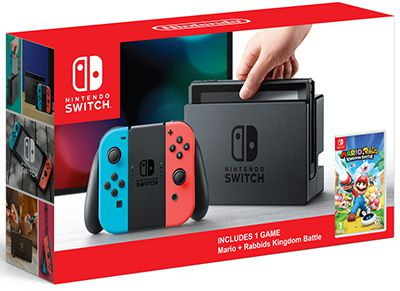 Nintendo Switch Neon Red/Neon Blue - Mario & Rabbids: Kingdom Battle Edition