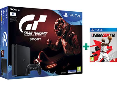 Sony PlayStation 4 - 1TB Slim & Gran Turismo Sport & NBA 2K18