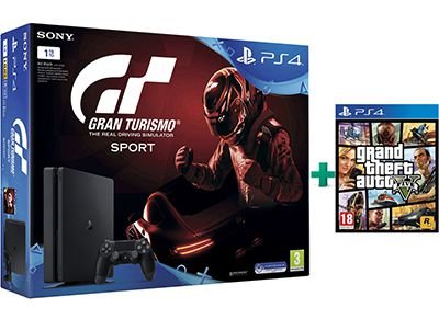 Sony PlayStation 4 - 1TB Slim & Gran Turismo Sport & Grand Theft Auto V