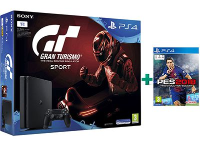 Sony PlayStation 4 - 1TB Slim & Gran Turismo Sport & Pro Evolution Soccer 2018