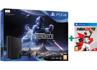 Sony PlayStation 4 Slim - 1TB & Star Wars Battlefront II & NBA 2K18