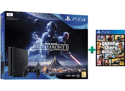 Sony PlayStation 4 Slim - 1TB & Star Wars Battlefront II & Grand Theft Auto V