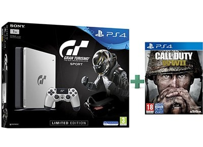 Sony PS4 1TB Slim Limited Edition & Gran Turismo Sport & Call of Duty: WWII