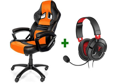 Gaming Chair Arozzi Monza Πορτοκαλί/Μαύρο & Turtle Beach Ear Force Recon 50 Gaming Headset