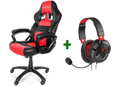 Gaming Chair Arozzi Monza Κόκκινο/Μαύρο & Turtle Beach Ear Force Recon 50 Gaming Headset