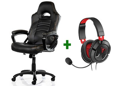 Gaming Chair Arozzi Enzo Μαύρο & Turtle Beach Ear Force Recon 50 Gaming Headset