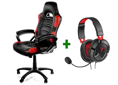 Gaming Chair Arozzi Enzo Μαύρο/Κόκκινο & Turtle Beach Ear Force Recon 50 Gaming Headset