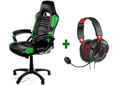Gaming Chair Arozzi Enzo Μαύρο/Πράσινο & Turtle Beach Ear Force Recon 50 Gaming Headset