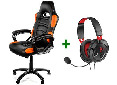 Gaming Chair Arozzi Enzo Μαύρο/Πορτοκαλί & Turtle Beach Ear Force Recon 50 Gaming Headset