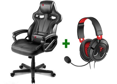 Gaming Chair Arozzi Milano Μαύρο & Turtle Beach Ear Force Recon 50 Gaming Headset