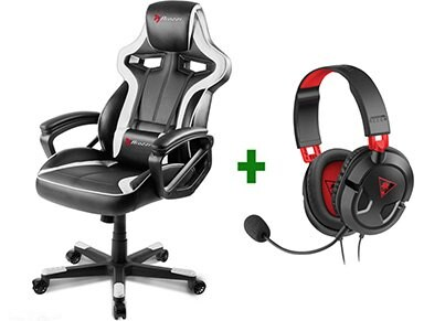 Gaming Chair Arozzi Milano Λευκό/Μαύρο & Turtle Beach Ear Force Recon 50 Gaming Headset