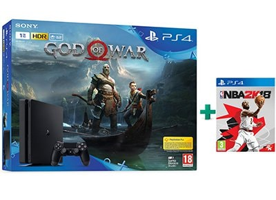 Sony PlayStation 4 Slim 1TB Μαύρο & God of War & NBA 2K18
