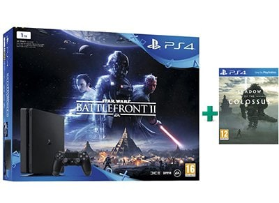 Sony PS4 1TB Slim Μαύρο & Star Wars Battlefront II & Shadow of the Colossus