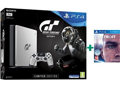 Sony PS4 1TB Slim Ασημί Limited Edition & Gran Turismo Sport & Detroit: Become Human