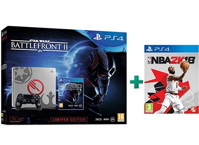 Sony PS4 1TB Slim 1TB Γκρι Limited Edition & Star Wars Battlefront II Deluxe Edition & NBA 2K18