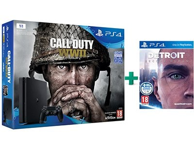Sony PS4 1TB Slim Μαύρο & Call of Duty: WWII & Detroit: Become Human