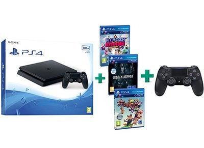Sony PS4 Slim 500GB Μαύρο & Frantics & Hidden Agenda & Knowledge is Power & 2ο Χειριστήριο (Μαύρο)